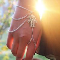 Wholesale Chain Bracelet Ring Finger - Steet Style Bracelets Asymmetric Women Hamsa Fatima Bracelet Finger Ring Slave Chain Hand Harness Fashion Jewellery Chains Charm Bracelets