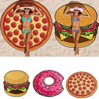 Wholesale Bath Mat Large - Beach Towel Pizza Hamburger Printed 150cm Large Towels Bohemia Style Circle Toalla Hawaiian Round Scarf Wrap Shawl Thin Cotton Yoga Mat
