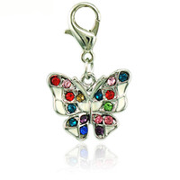 Fashion Floating Charms With Lobster Clasp Couleur Rhinestone Enamel Butterfly Animals Bricolage Charms pour bijoux Accessoires