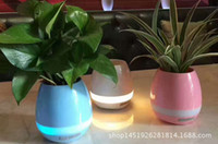 Wholesale hot bluetooth Smart Music Flowerpots intelligent real plant touch play flowerpot colorful light long time play bass speaker Night