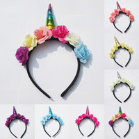 Wholesale Toddler Party Dress Headbands - INS 2017 Cute Toddler Baby Magical Unicorn Horn Head Party Headband Dress Cosplay Decorative Headwear 7colors choose free ship