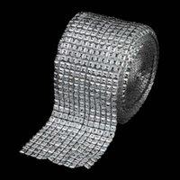 Wholesale Crystal Mesh Fabric Rhinestone - 5Yards x10cm Silver Diamond Mesh 12 Rows Pyramid Sparkl Rhinestone Ribbon Crystal Ribbon Trim for Wedding Party Decorations Gift Wrap