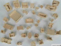 Wholesale 3d Wooden Dollhouses - DIY Mini Furniture 34pcs set ,Kids Educational Dollhouse Furniture Toy, 3d baby room furniture Woodcraft Toy