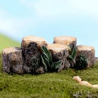 ingrosso vasi da giardino della resina-2016 Miniature Resin Tree Stump Bridge Craft Garden Fairy Ornament Flower Pot Plant Decorazione Figurine