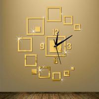 Wholesale cartoon wall watches - Wholesale- 3D diy clocks home decoration watch horloge murale quartz acrylic mirror stickers living room new wall clock
