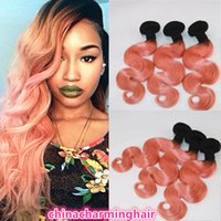 Wholesale rose ombre hair resale online - Dark Roots Hair Wefts Brazilian Human Ombre Two Tone golden rose Human Body Wave Hair