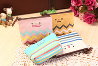Wholesale Cosmetic Case Low Price - Wholesale- New Arrival Low Price Candy Color Smile Face Makeup Cases Cosmetic Bag Small 4Styles Canvas Bag Purse
