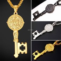 Wholesale Stainless Medal - Vintage Key Charm Necklace & Pendant For Men Gold Color 316L Stainless Steel Chain Saint Benedict Medal Key Jewelry P1010