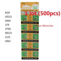 Wholesale Lr521 Button Cell - 500pcs 1 lot AG0 LR521 LR69 379 379A SR521 L521 LR63 1.55V Alkaline Button Cell Battery coin batteries Free shipping