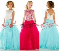 Wholesale Kids Cheap Prom Dresses - 2017 Custom Cheap A Line Little Gilrs Pageant Dresses Bateau Crystals Beads Tulle Kids Prom Dress Backless Children Dress flower girl dress