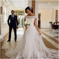 Wholesale Beaded Detachable Wedding Skirt - 2017 Vintage Mermaid African Wedding Dresses White Crystal Sash Lace Appliques Plus Size Beaded Tulle Bridal Gowns vestidos de novia