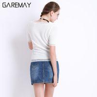 Wholesale Vetement Femme Slim - Women Top Short Sleeve Knitted Blouse White Blouse Ladies Slim Tops Hollow Out Fashion Shirt Vetement Femme Elegant Tataria 9329