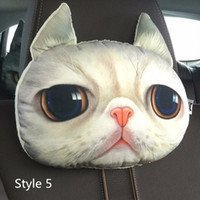 Wholesale Cartoon Headrest - 3D Cute Animal Pillow For Car Cartoon Dar Soft Headrest Pillow 2 Colors Polyester Protect Neck Car Accessorie Seat Covers