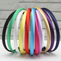 Wholesale Headband Covers - 10mm Plain Solid Color Satin Covered Resin Hairbands,Ribbon Covered Adult Kids Headbands Infant Headband Free Shipping