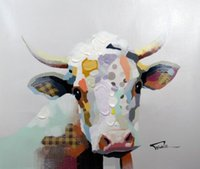 Wholesale Multiple Paintings - Framed, R377# Pure Handpainted Modern Abstract Art Oil Painting CUTE COW FARM ANIMALS,On High Quality Canvas Home Wall Decor Multiple size