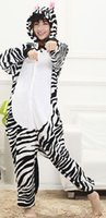 Wholesale Zebra Jumpsuit Women - Zebra Kigurumi Pajamas Animal Suits Cosplay Outfit Halloween Costume Adult Garment Cartoon Jumpsuits Unisex Animal Sleepwear