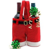 All'ingrosso 1 Pz Buon regalo di Natale Treat bottiglia Candy Vino Bag Santa Claus bretella pantaloni regalo di Natale Pantaloni Decor Borse