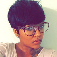 Wholesale Indian Ladies Hair Wigs - Lace front Straight Human hair wigs Cheap Pixie Cut short with baby hair african hair cut style brazilian Ladies wig for black women