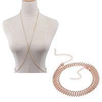 Wholesale Belly Cross - 2Pcs Women X Shaped Rhinestone Body Chain Flash Shiny Crystal Bra Chain Sexy Bikini Necklace Cross jewelry Silver Gold Color