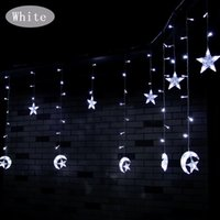 Wholesale Christmas Luminarias - Wholesale- 1X2.5M Luminarias Multi-color 138Leds Moon&Star Cutain String Light Decorations for Christmas Holiday Wedding Parties LED Lights
