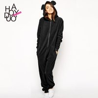 Wholesale Hooded Bear Jumpsuit - Wholesale- the new summer 2016 cute bear ears hooded Jumpsuit casual Jumpsuit sweater pocket