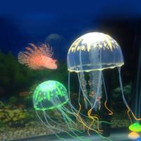 Wholesale Pool Jellyfish - 8cm Vivid Glowing Effect Fluorescent Artificial Jellyfish Aquarium Fish Tank Decoration Ornament Swim Pool Bath Decor Free Shipping ZA2250