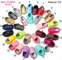 Wholesale Wholesale Fringe Shoes - 68 Colors Baby Soft PU Leather Tassel Moccasins walker shoes baby Toddler Bow Fringe Tassel Shoes Moccasin 0-1 year old Baby Walker Shoes