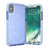 Wholesale Diamond Pattern Iphone Case - Diamond Pattern For iPhone 8 Transparent Colorful TPU PU Shockproof Cover Case For Samsung S8 Plus iPhone 6 6s 7 Plus OPP BAG