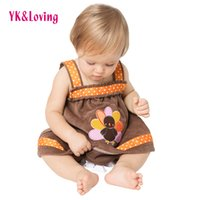 Wholesale Baby Girl Dresses 24 Months - Baby Girl Brown Dress Thanksgiving Clothes Infant Dresses Baby Outfits Tutu Skirt Children Kids Clothing Sleeveless Infant Sundress Girls