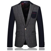 Wholesale Gray Korean Style Blazer - Wholesale- 2017 New Men Blazer Slim Fit Mens Wool Blazers Fashion Patchwork Hombres Blazer Designs Korean Style Gray Casual Suit Jacket