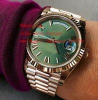 Wholesale Gold Watch Ii - Luxury High Quality Automatic Mens Watch New style Green Dial 18k Rose gold 41mm Day Date II Mechanical Watches