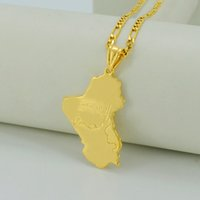 Wholesale Flag Items - Republic of Iraq Map national flag,18K Real Gold Plated Map of Iraq Pendant Necklaces Jewelry For Women Men,Iraqi Items #030606