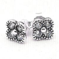 oriental earrings - New Sterling Silver Earring Pretty Oriental Blossom With Crystal Studs Earring Compatible With Pandora DIY Jewelry HRAPD882