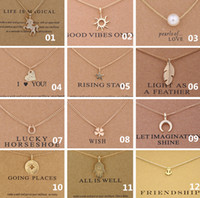 Wholesale Necklace Elephant - 38 Style Dogeared Choker Necklaces With Card Unicorn Love Heart Elephant Pearl Circle Pendant Necklace Gold Plated Chain Fine Jewelry A336