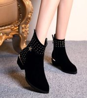 Discount pleat fabric - Wholesale New Arrival Hot Sale Specials Super Fashion Martin Knight Warm Star Sweety Rivets Leisure Diamond Noble Heel Ankle Boots EU34-39