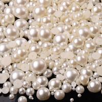 flatback perlen gemischte größen großhandel-Gemischte Größe 2mm 3mm 4mm Creme reinweiß Halb Runde DIY Harz Flatback Nail Art Perle 1 Los = 10000 Stück