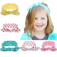 Gran venta !!! Baby Girls Polka Dot Turbante Twist Headbands Infantil Niños Baby Elástico Algodón Hairbands niños turbante Nudo Head Wrap KHA120