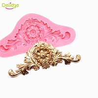 Wholesale cupcake flower decoration - Delidge 20 pc Euporean Pattern Cake Mold Silicone Vintage Flower Fondant Mould Wedding Cupcake Decoration Tool
