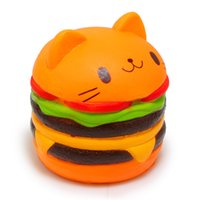 Wholesale Cat Toys Free Shipping - Kawaii Jumbo Cat Hamburger Cake Squeeze Squishy Slow Rising Stretchy Charm Cute Pendant Bread Kid Toy Gift Strap Free Shipping