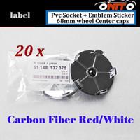 Wholesale Bmw Wheel Center - 20Pcs 68mm Label Car Wheel Hub Emblem Cover Carbon Fiber Red White Auto Wheel Center Logo Cap PVC Badge