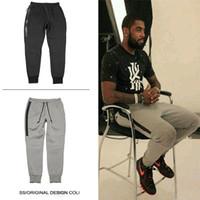 Wholesale Hot Cotton Capris - Hot Tech Fleece Sport long Zipper pocket Sport pants casual pants Grey Black S-XL Man's Casual Joggers