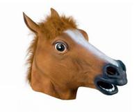 máscaras assustadoras do teatro venda por atacado-15 hj Cosplay Assustador Cabeça de Cavalo Máscara Chapelaria Halloween Costume Teatro Prop Para Festa Make Up Decorar Cavalos Máscaras De Borracha De Látex