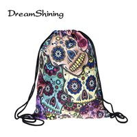 Wholesale Lunch Bag Backpack - Wholesale- DreamShining New Fashion Lunch Backpack Unisex Mexican Skull Women Backpacks Blue Softback 3D Print Polyest