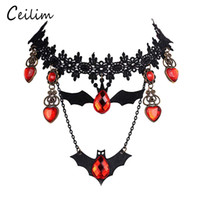 Barato Colarinhos De Strass De Strass-Goth Halloween Vampire Bat Charms Chokers For Women Black Lacework Multilayer Necklace com laranja Rhinestone Charm Vampire Dangle Earrings