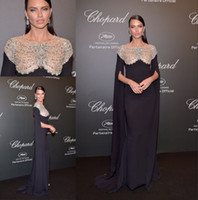 Wholesale Adriana Lima - Adriana Lima Black Crystals Evening Dresses 2017 With Wrap Illusion Neck Formal Party Gowns Red carpet Celebrity Dress prom Dresses