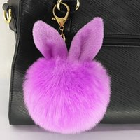 Wholesale Fashion Design Dolls - 100pcs lot DHL Free Shipping New Design Doll Genuine Rabbit Ear Shape Fur ball Plush Key Chains Car Keychain Bag Pendant Fashion Toys&Gifts