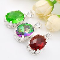 Wholesale Mystic Topaz Stones - Luckyshine 2piece lot Christmas 925 silver plated Yellow Topaz Garnet And Mystic stone romantic crystal pendant for lady gift