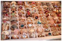 anéis de cristal de zircão venda por atacado-24 pcs Lot Mix Designs Gemstone Anel Exagerado Micro Pave Zircon Cristal 18 K Real Banhado A Ouro anéis Atacadista