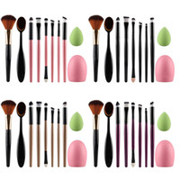 Wholesale Egg Sponge - 2017 New 10pcs Makeup Brushes Sets Toothbrush Oval Powder Brush Sponge Cosmetic Puff Egg Foundation Blush Brush Cleaner Cosmetic Tool Kit