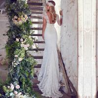 Wholesale Wedding Dress Sweetheart Lace Bow - 2018 Lace Bohemian Mermaid Wedding Dress Sweetheart Sexy Backless Bridal Gown Cap Sleeve Vestido De Novia